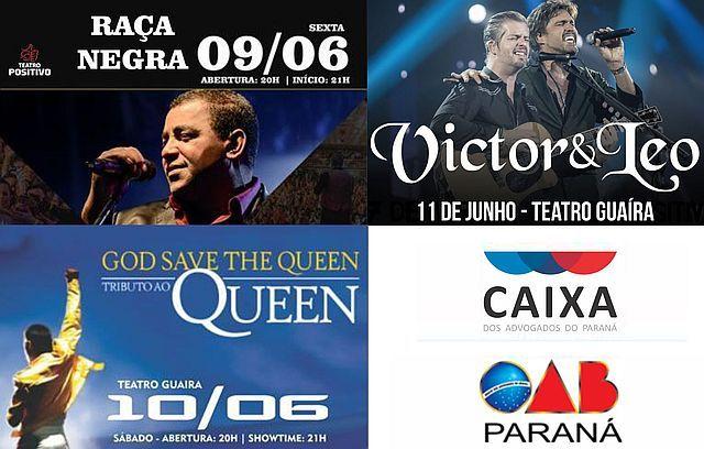 Três shows em Curitiba com desconto para advogados neste fim de semana