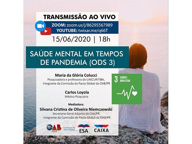 """Diretora da CAA-PR media live sobre """"Saúde mental em tempos de pandemia"""""""