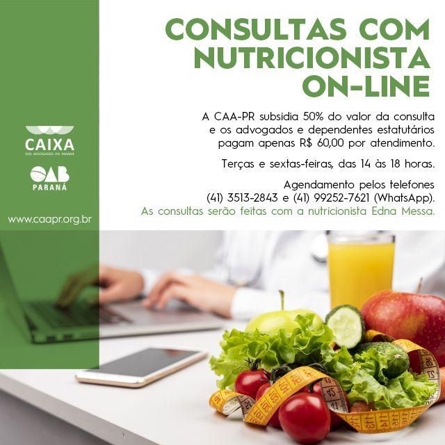 CAA-PR retoma consultas on-line com nutricionista