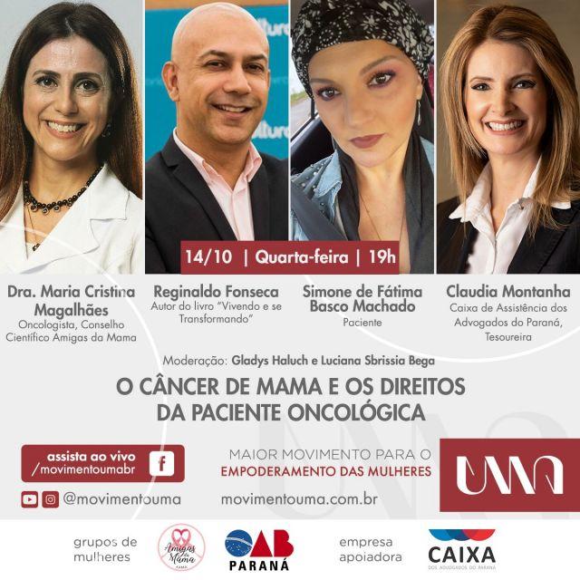 """CAA-PR convida para live """"O câncer de mama e os direitos da paciente oncológica"""""""