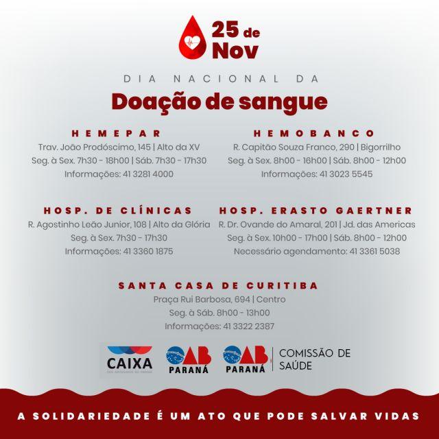 CAA-PR cria campanha para incentivar doação de sangue
