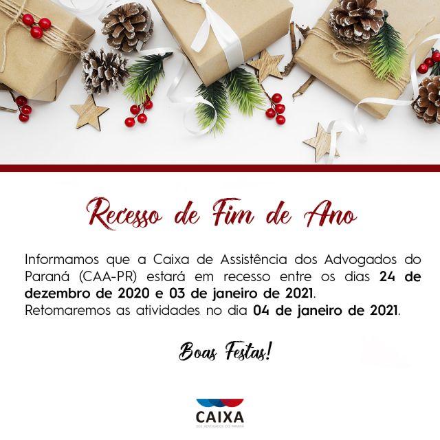 CAA-PR estará em recesso no período de 24 de dezembro a 3 de janeiro