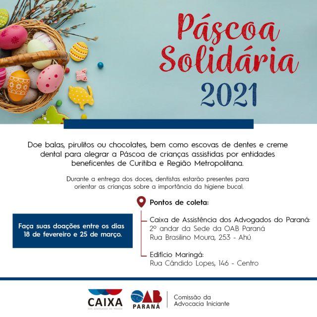 CAA-PR lança campanha Páscoa Solidária para arrecadar doces e materiais de higiene bucal