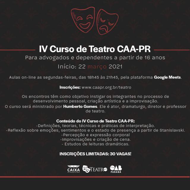 Inscrições abertas para o IV Curso de Teatro da CAA-PR