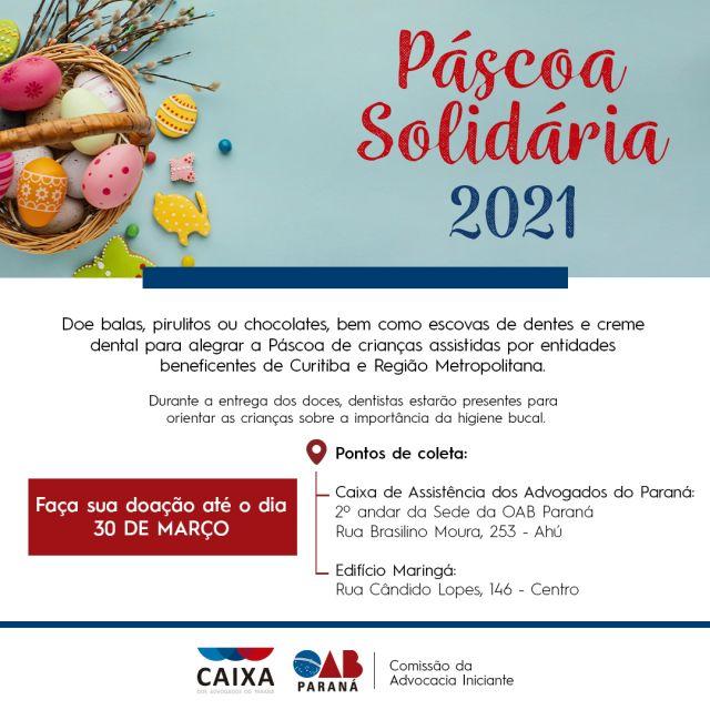 Campanha Páscoa Solidária 2021 segue até o dia 30 de março