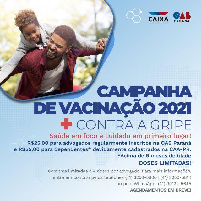 CAA-PR lança Campanha de Vacinação contra a Gripe 2021
