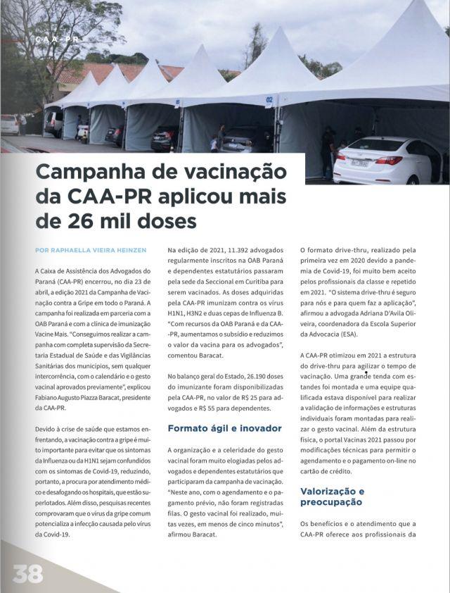 Campanha de Vacinação da CAA-PR é destaque na Revista da OAB Paraná