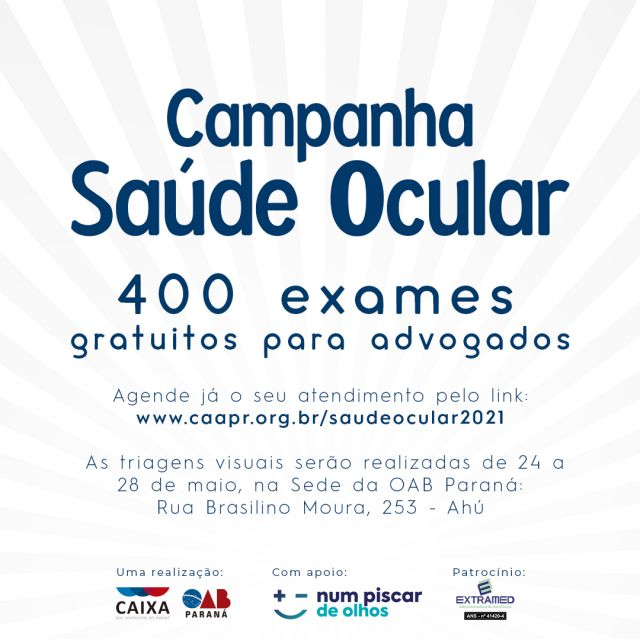 Após um ano e dois meses de trabalho em ambiente virtual, venha conferir sua saúde visual na sede da OAB Paraná
