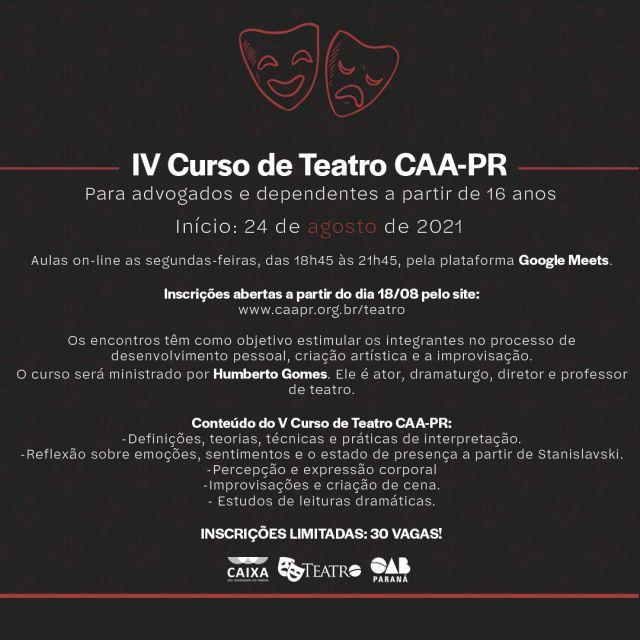 Inscrições abertas para o V Curso de Teatro da CAA-PR