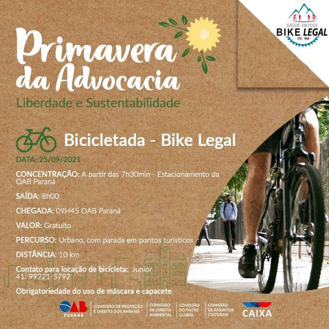 """CAA-PR promove Pedal Urbano durante """"Primavera da Advocacia"""", evento da OAB Paraná"""
